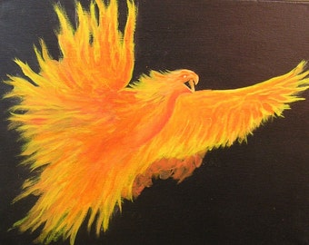 Phoenix-Rising From the Ashes.....Original Acrylic Painting.....Fantasy Art