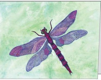 Dragonfly Notecard - Purple and Green