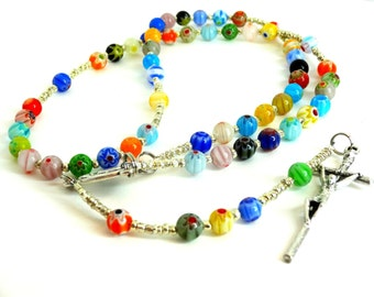 Colorful Rosary, Catholic Rosary, Millefiori Rosary, Handmade Rosary, First Communion Rosary