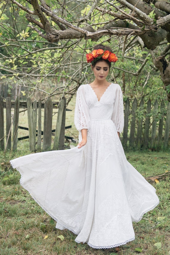 Frida 1970 39 s mexican cotton lace wedding dress for Mexican wedding dresses for sale