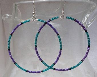 Seed Beaded Hoop Earrings - Teal and Purple - Mod, Retro, Hippy, Boho Look