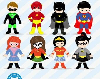 50% OFF SALE Superhero Clipart / Super Heroes Cliparts / 1 FREE Superhero / Instant Download / Item Number: Superhero-BG2