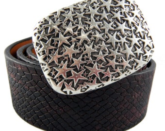 Perpetual Vogue Rose Black Leather Belt with Stars Belt Buckle