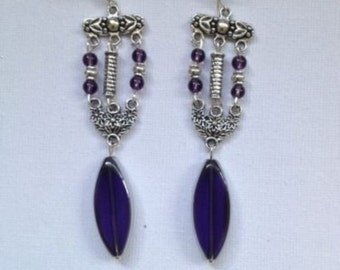 Amythyst and Tibetan silver Earrings