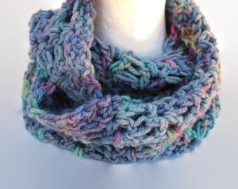 Ladies Crochet Cowl, Crochet Scarf, Neckwarmer, Hand dyed Merino, Merino Scarf, blue scarf, pink, aqua, Super soft warm, Unique Gift for her