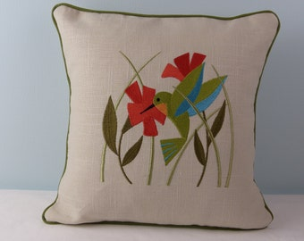 hummingbird in flowers decorative embroidered pillow cover nature gift handmade ready to ship made in the USA