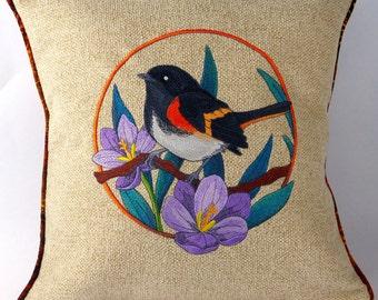 embroidered pillow, throw pillow cover, decorative cushion, machine embroidery, bird pillow cover, American redstart, migratory bird, pillow