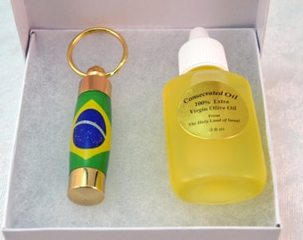 LDS Consecrated Oil Vial with the Brazlian Flag Key Chain