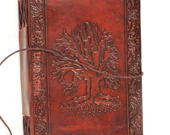 9X5 Handmade Leather Journal, Sketchbook, diary Celtic Tree of Life Book of Shadow wicca