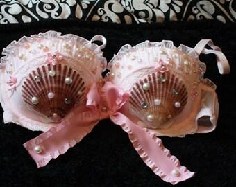 Baby Pink Mermaid seashell Bra