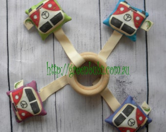 Organic Wooden Rattle Baby Toy Kombi Teething Maple Ring Eco Vegan Friendly