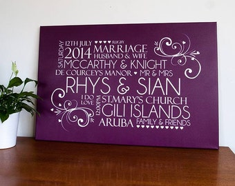 Personalised Word Art Modern Wedding Canvas