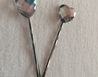 Gorgeous heart crystal kirby grips, bobby pins, grips, clips, slides, bridal ,