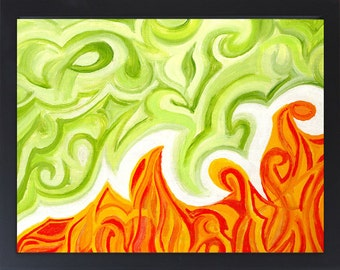 Fire Art / Fire Painting - Orange Abstract Painting - Abstract Wall Art - Green Abstract Art