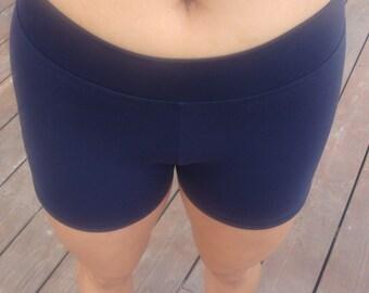 Women / Teen Navy Blue High Waist Compression Spandex Workout Shorts