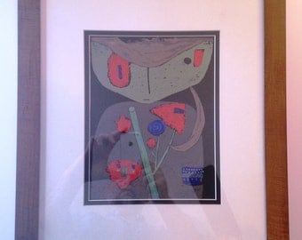 """Art Print, Paul Klee Print - Signed hand colored -  titled: """"Figure of the Oriental Stage""""  1934. Print framed art. wall art, home decor,"""