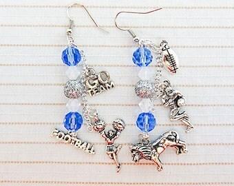 FOOTBALL EARRINGS, football jewelry, football charm, charm earrings, charm jewelry, sports earrings, sports jewelry, football player - 0219