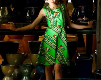 Tsonga Stripe Print Dress - Green