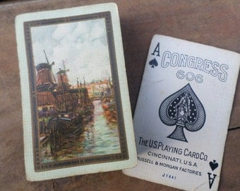 vintage deck of Playing Cards ANTIQUE WINDMILLS