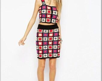 Handmade Crochet Summer Granny Square Top and skirt Ensemble - Made to Order