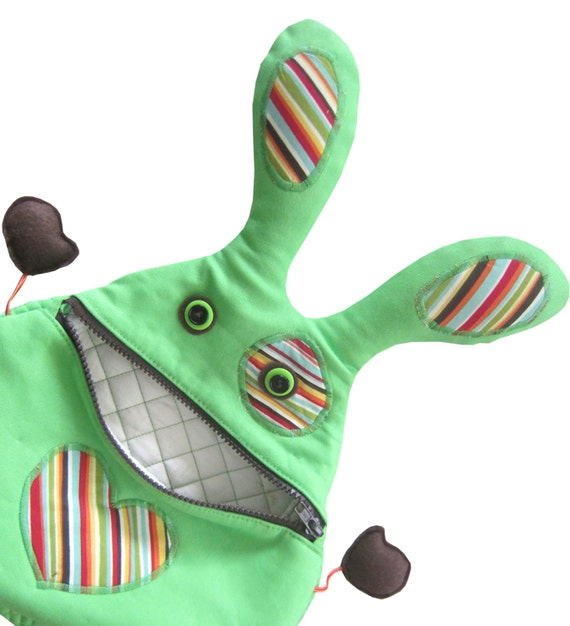 Hungry Rabbit Kids Backpack - handmade fabric bunny backpack