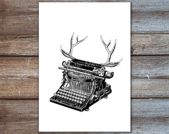 antler decor typewriter - deer antler art - woodland decor - art print illustration hipster typewriter