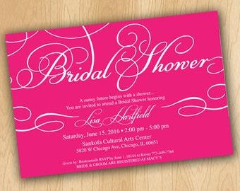 Classic Pink Bridal Shower Invitation
