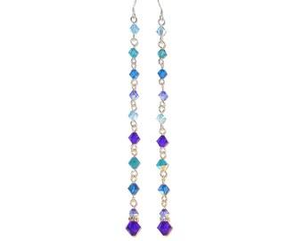 "CRYSTAL Earrings Shoulder Dusters BLUE MIX Swarovski Elements Super Long 4-3/4"""
