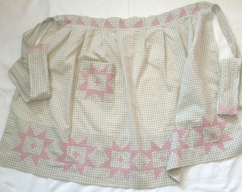 Green gingham apron