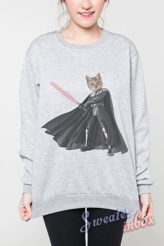 Cat Vader Jumper Darth Vader Star Wars Movie Animal Shirt Women T-Shirt Grey Sweater Unisex Tshirt Shirt Sweatshirt Tee Size S M L