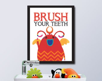 PRINTABLE Monster House Rule / Brush Your Teeth / Instant Download / 8 x 10 Digital Download