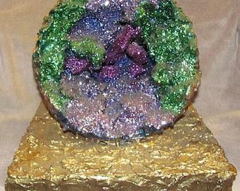 Green Geode Sculpture With Glitter - Gold Base - Handmade