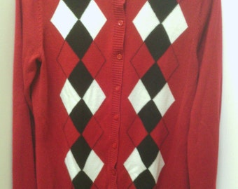 A Nice Red, White and Black Cardigan, Croft & Barrow.