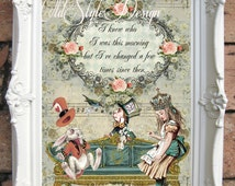 Alice In Wonderland Quote Shabby Chic Decor Vintage Alice Wall Art