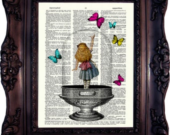 Alice in Wonderland Decoration. Alice in Wonderland Print on book page. Alice in wonderland Art Print. Alice in wonderland decor. Code:033