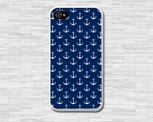 Anchors Nautical phone case Navy Blue iPhone 4 4S, iPhone 5 5S 5C,Samsung Galaxy S3 S4 S5,note2 note3,Rubber iPhone Case,Custom Monogram