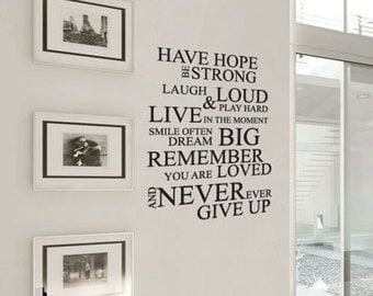 Have Hope Never Give Up Art Wall Quote Stickers Wall Decals Words Lettering