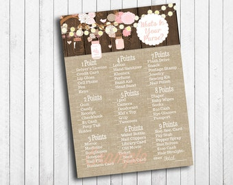 Bridal Shower What's In Your Purse Game Rustic Mason Jar Tree Branch Burlap Wood Fairy Lights Flower Instant Download Digital File