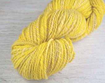 Handspun BFL Wool Yarn - Yellow - RAPUNZEL - 157 yards, Worsted Weight