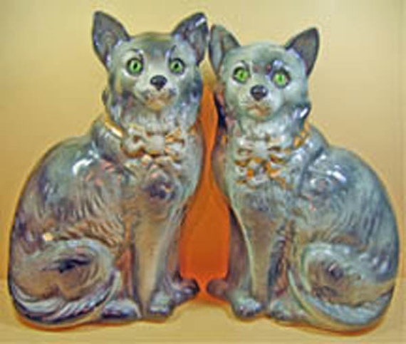 Antique Pair Staffordshire Cat Figures with glass eyes