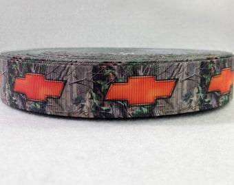 7/8 Camo and Orange Chevy Grosgrain Ribbon
