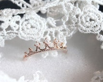 Zenobia Silver and Rose Gold Crown Ring