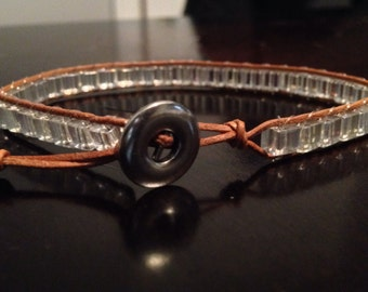 Natural leather wrap bracelet with clear cube beads