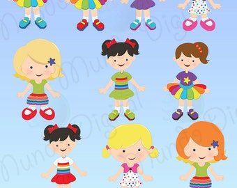 10 Girls Digital Clip Art for Scrapbooking Card Making Cupcake Toppers Paper Crafts