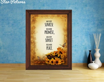Butterflies sunrise picture. Wall art decor. Printable art. May every sunrise hold more promise and every sunset hold more peace.