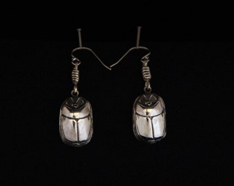 Sterling Silver Scarab Earrings