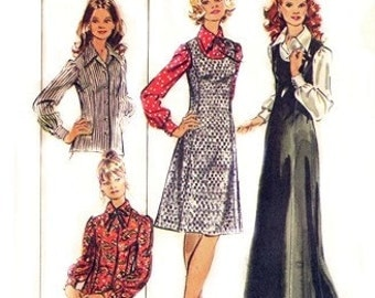 "Simplicity 5266 Pointy Collar ""Hostess"" Blouse & Jumper 1972 / SZ14.5 UNCUT"