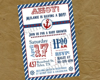 Nautical Sailor Baby Shower  Party Invitation -Digital or Printed