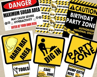 CONSTRUCTION Birthday Signs and Water Bottle Wraps - INSTANT DOWNLOAD