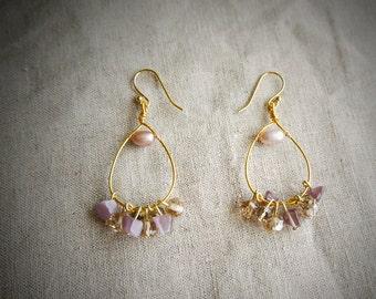 Amethyst And Fresh Water Pearls, Hoop Earrings, 14K gold Plated Earring Wires